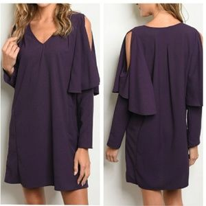 Dresses & Skirts - Boutique Purple Cold Shouler Vneck Shift Dress L